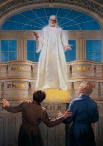 Joseph Smith ja Oliver Cowdery näkivät Herran ilmestymistä Kirtlandin temppelissä 1836.
