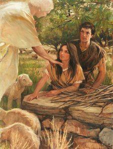 Enkeli puhuu Aadamille ja Eevalle