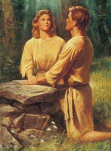 Aadam ja Eeva rukoilemassa alttarin äärellä