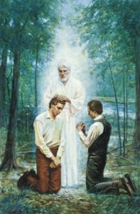Johannes kastaja palauttaa aaronin pappeuden Joseph Smithille